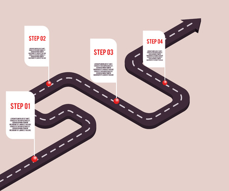 Vector business milestones concept with points and steps with space text on road route. Company timeline, presentation infographic template. Corporate strategy, process workflow.