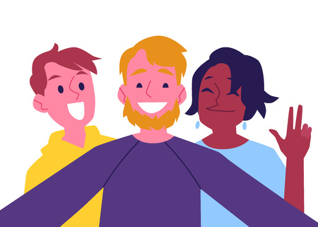 Illustration for Vector cheerful friends making self-portrait using camera. Happy men and african black woman having fun together making photography with smile. Isolated illustration - Royalty Free Image