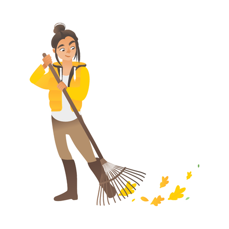 A cute girl or young woman sweeps the leaves with a rake. Eco children activities with rake, vector illustration.