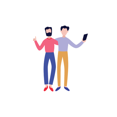 Illustration pour Vector cheerful friends standing hugging making selfie by smartphone. Two male buddies standing together. Happy flat men students, colleagues having fun. Isolated illustration - image libre de droit