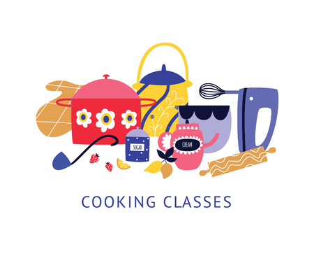 Illustration pour Composition of utensil and kitchen tools with text in flat cartoon style, vector illustration isolated on white background. Poster design for cooking classes with group of dishes and equipment - image libre de droit