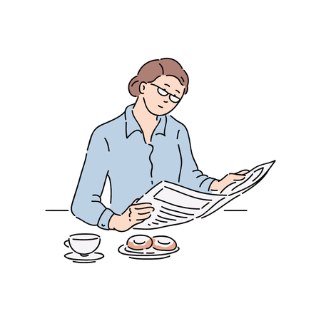 Illustration pour Woman reading newspaper article, adult businesswoman with glasses does sit and read news during breakfast, hand drawn cartoon comic character isolated vector illustration on white background - image libre de droit