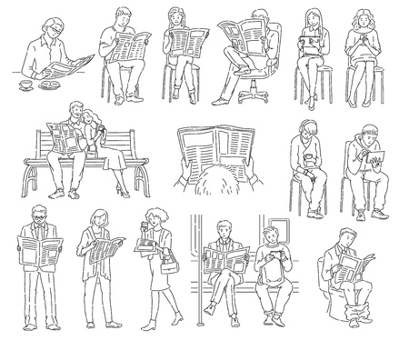 Illustration pour Set of people who read newspapers and look at technology in different places and positions. Men and women reading news, coloring book isolated black and white vector illustration on white. - image libre de droit