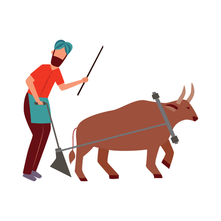Illustration pour Indian farmer male with plough and cattle animal in yoke flat cartoon style, vector illustration isolated on white background. Man plowing agricultural field with bull or buffalo - image libre de droit