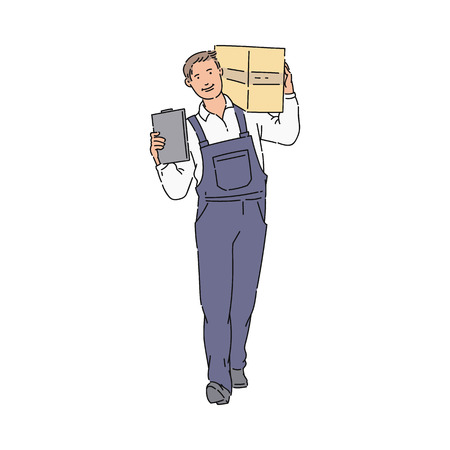 Illustration for Delivery Man or courier with box and clipboard in blue uniform overall sketch. Package and delivery worker cartoon icon vector illustration isolated on the white background. - Royalty Free Image