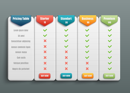 Ilustración de Vector subscription plan pricing and tariffs comparison for web sites. Business offers template with user friendly interface, buttons and web elements. - Imagen libre de derechos