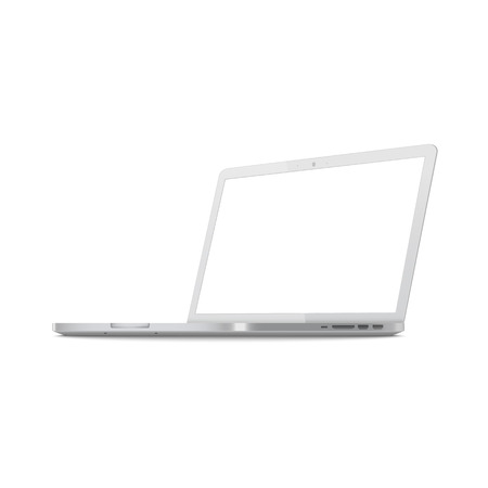 Illustration pour White laptop screen mockup from side view, metallic silver computer with blank monitor space, modern notebook equipment shown sideways with ports, isolated vector illustration on white background - image libre de droit