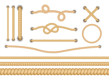 Illustration pour Set of various types of nautical loops and knots for rope. Different types of ropes with knots and loops. Set of vector isolated realistic illustrations. - image libre de droit