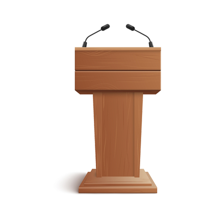Illustration pour Realistic icon of blank brown wooden stand, podium or rostrum with microphones for presentations at conferences, lectures or debates. Isolated 3D vector illustration. - image libre de droit