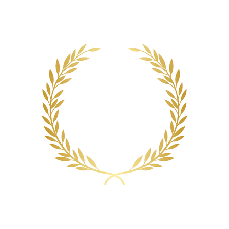 Ilustración de Laurel or olive greek decorative wreath the symbol of award or champion achievement vector illustration isolated on white background. Icon or frame for winners certificate. - Imagen libre de derechos