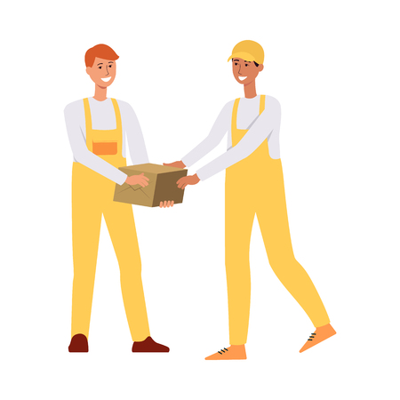 Illustration for Two loaders in overalls passing a brown box cartoon style, vector illustration isolated on white background. One delivery man giving cardboard package or parcel to another worker - Royalty Free Image
