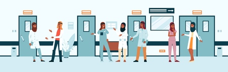 Illustration pour Muslim doctors weared gown in hospital or medicine forum flat vector illustration isolated on white background. Professional women and men of healthcare industry in uniform icon. - image libre de droit