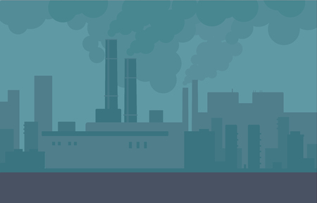 Illustration pour Air pollution in the city pipes of plants and factories. Building smoke, polluted urban air, toxic environment. Vector city illustration. - image libre de droit