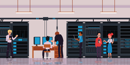 Illustration pour Server room or data center with characters of technology engineers or IT workers horizontal banner with cloud storage and data exchange server flat vector illustration. - image libre de droit
