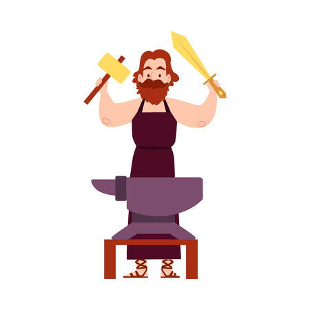 Illustration pour Man or Hephaestus Greek God stands at anvil with hammer and sword cartoon style, vector illustration isolated on white background. Vulcan mythological smith in apron holding weapon in arms raised up - image libre de droit
