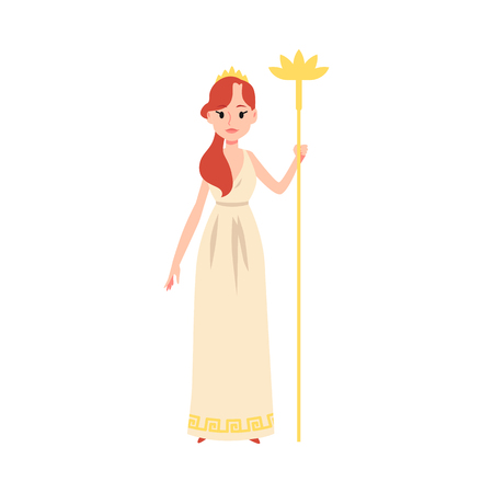 Illustration pour Woman or Hera Greek Goddess stands holding golden staff cartoon style, vector illustration isolated on white background. Juno mythological queen of marriage and family and childbirth - image libre de droit