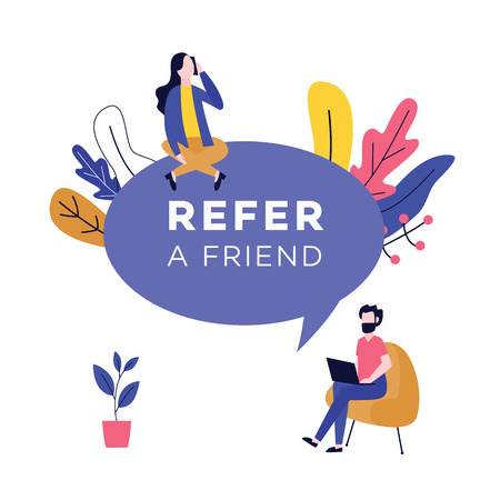 Illustration for Refer a friend design with huge speech bubble and people flat cartoon style, vector illustration isolated on white background. Referral program badge with sitting business man and woman with devices - Royalty Free Image