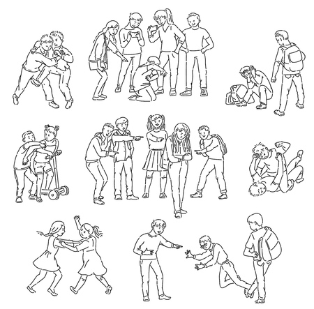 Illustrazione per Outline sets of conflict and fights, abuse and personal violence, bullying with aggressive school bully and victim, vector isolated cartoon line illustration. - Immagini Royalty Free
