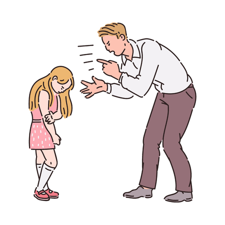 Illustration pour Angry father yelling at girl child. Family conflict between upset adult and unhappy scared kid, bad parent kid relationship symbol, cartoon sketch vector illustration isolated on white background - image libre de droit