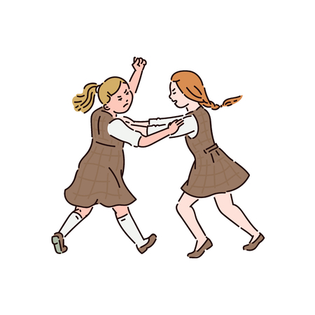 Two little girls in dresses are fighting with each other. Conflict and fight, violence and bullying between children at school. Vector cartoon illustration for posters, banners.