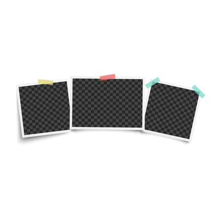 Ilustración de Set of three vintage blank photo frames, empty mockup for photograph in style of vintage instant picture. Templates stuck to wall with tape, isolated vector illustration on white background - Imagen libre de derechos