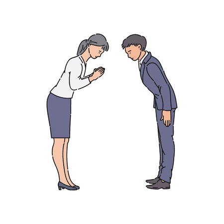 Illustration pour Two people bowing and greeting each other before business meeting. Asian man and woman bow and smile to show respect, isolated hand drawn cartoon characters - vector illustration on white background - image libre de droit