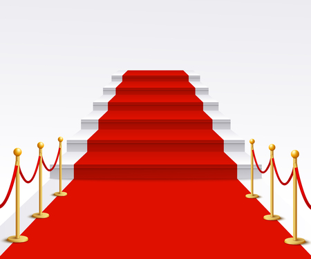 Illustration pour Luxury red carpet staircase background, success and fame walk for vip gala celebration event or Hollywood movie premiere, staircase with rope poles - isolated realistic vector illustration - image libre de droit
