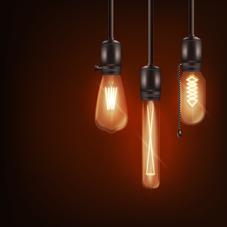 Illustration for Set of 3d different shaped glowing light bulbs hanging on wires realistic style, vector illustration isolated on dark background. Retro incandescent Edison lamps design for loft or vintage interior - Royalty Free Image