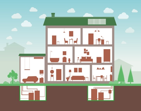 Illustration pour House cut with inside interior view, cartoon home section of three floor building and furniture outline silhouettes and separate room plants, flat vector illustration - image libre de droit