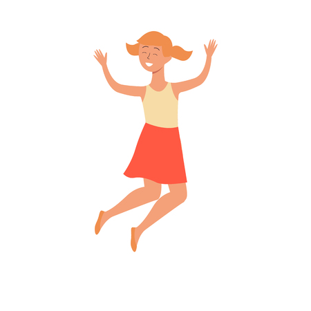 Cute smiling girl jumping in air flat vector illustration isolated on white background. The concept of happy childhood for international children\'s day or active lifestyle.