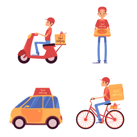 Ilustración de Set of delivery men standing and riding on vehicles cartoon style, vector illustration isolated on white background. Food service courier holding pizza box and driving on scooter and bicycle and car - Imagen libre de derechos