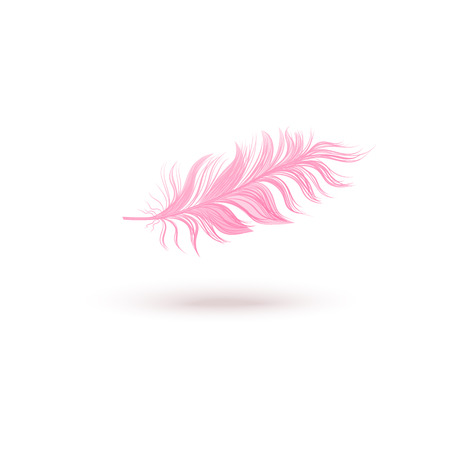 Pink floating bird feather isolated on white background. Fluffy light wing quill flying on air, feminine pastel object with realistic texture - hand drawn vector illustration