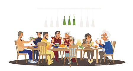 Ilustración de Big family dinner around table with food, many people eating a meal and talking together, happy cartoon characters during group lunch or celebration, isolated vector illustration on white background - Imagen libre de derechos