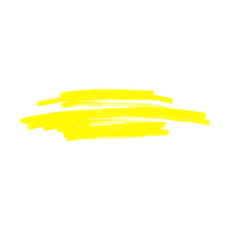 Illustration pour Yellow spot or underline from marker or highlighter, pen or brush, isolated vector illustration on white background. - image libre de droit