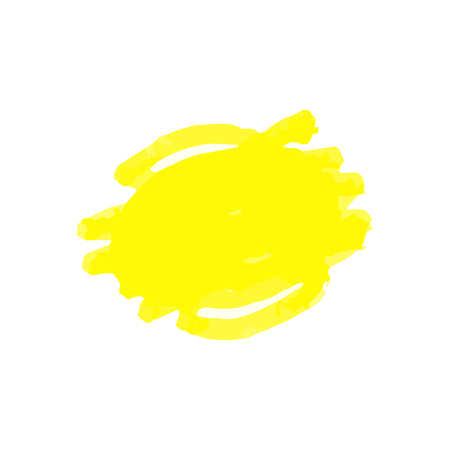 Quick marker drawing of abstract shape in yellow highlighter texture. Round scribble of overlapping line squiggles, doodle sketch element isolated on white background - vector illustration.