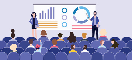 Ilustración de Business presentation with charts on the board in front of the audience at the conference. Speakers hold a presentation or corporate seminar. Vector flat illustration of a group and an audience. - Imagen libre de derechos