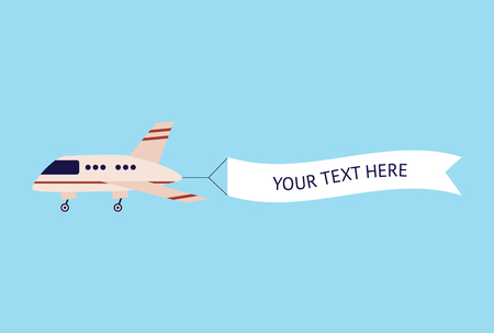 Ilustración de Airplane flying with text template banner, cartoon aircraft in air with advertising message sign, white ribbon flag behind flat plane - cute vector illustration isolated on blue background - Imagen libre de derechos