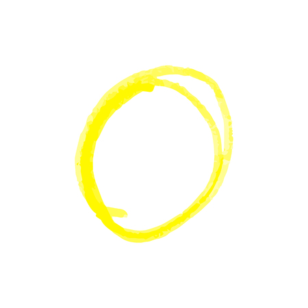 Illustration pour Hand drawn circle to highlight something of yellow crayon or paint markers strokes realistic vector illustration isolated on white background. Doodles sketch style. - image libre de droit