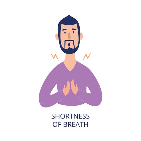 Illustration pour Man holding his chest having shortness of breath flat cartoon style, vector illustration isolated on white background. Male person with health problem as asthmatic or heart attack or allergy symptom - image libre de droit