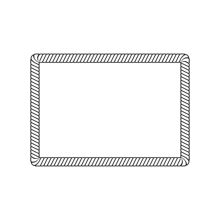 Illustration pour Rectangle rope frame with rounded corners in outline sketch style, vector illustration isolated on white background. Blank rectangle border from marine cord string or nautical cable - image libre de droit