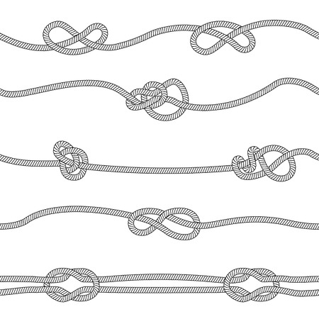 Illustration pour Seamless pattern of horizontal ropes set with different knots sketch style, vector illustration isolated on white background. Horizontal dividers collection of marine or climbing knotted cord strings - image libre de droit