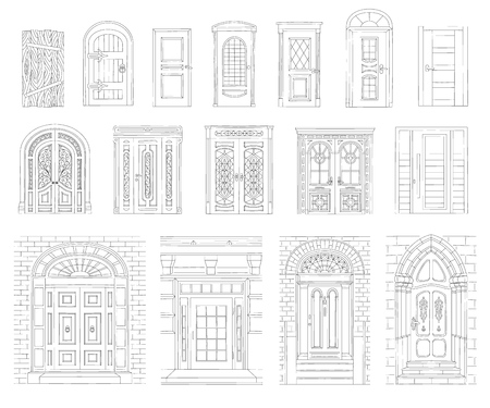 A set of drawn vintage and modern doors of houses and buildings with a black outline, stroke and contour. Set of different retro and modern doors. Isolated vector illustration on white background.