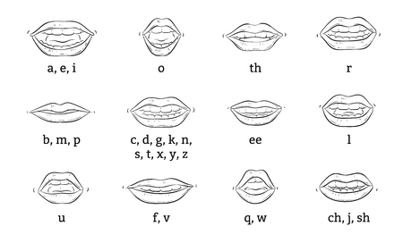 Illustration pour The correct position of the lips and tongue when pronouncing sounds or articulation a vector educational poster or banner sketch illustration isolated on white background. - image libre de droit
