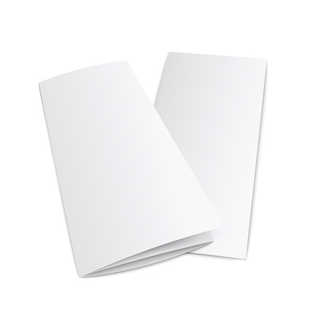 Illustration pour Blank trifold paper leaflet from side view - realistic mockup of empty white three fold documents isolated on white background. Advertising booklet lying on surface vector illustration - image libre de droit