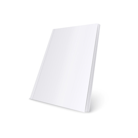 Ilustración de Mockup of standing blank white soft cover magazine realistic style, vector illustration isolated on white background. 3d template of paperback book or brochure or catalog in three quarters view - Imagen libre de derechos