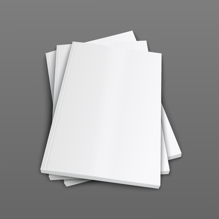 Illustration for A stack of closed magazines or brochure covers 3d realistic vector mockup illustration on grey background. Top view of folded paper booklets or catalogs template. - Royalty Free Image