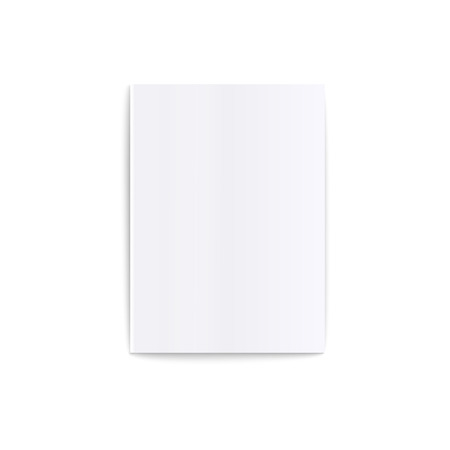 Illustration for Mockup of top view lying blank closed white soft cover magazine realistic style, vector illustration isolated on white background. Template of front view empty paperback book or brochure or catalog - Royalty Free Image