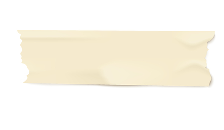 Illustration pour Piece of light yellow adhesive masking tape with realistic duct paper texture, isolated line strip with torn edges and wrinkles, used office stationery vector illustration on white background - image libre de droit