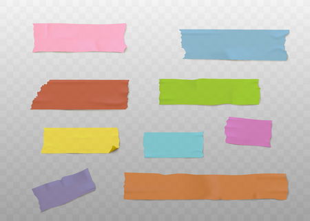 Illustration for Set of colorful adhesive tape strips with realistic texture, sticky washi paper pieces isolated on transparent background - office stationery vector illustration - Royalty Free Image