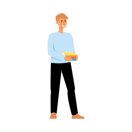 Teenager student cartoon character standing and smiling. Young man holding stack of books and waiting, happy boy going to school or university, isolated flat hand drawn vector illustration